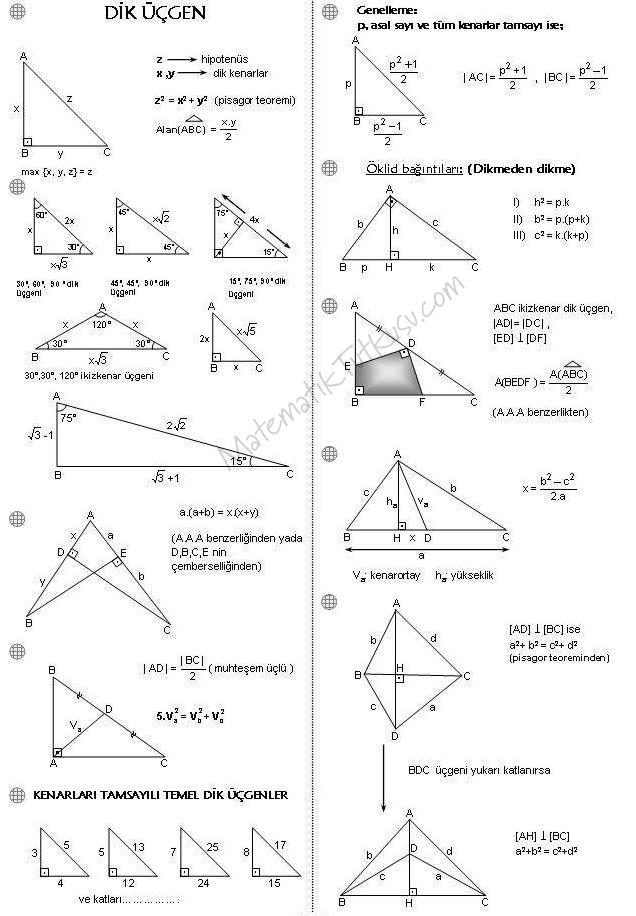 Dik üçgen formülleri