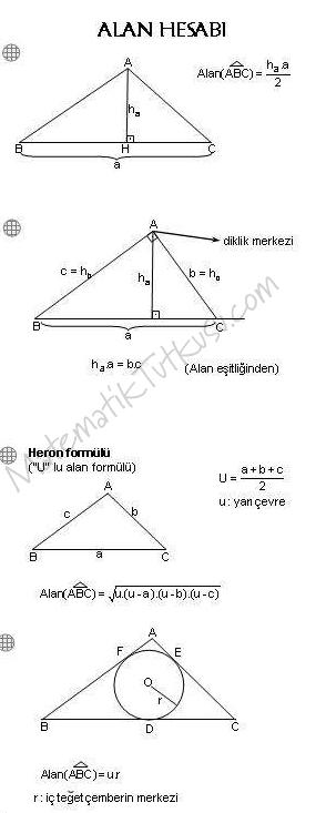 Üçgende Alan Formülleri 1