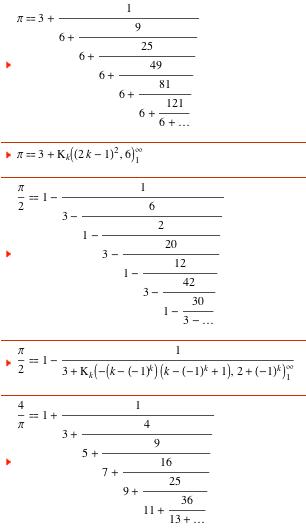 pi kesir formülleri