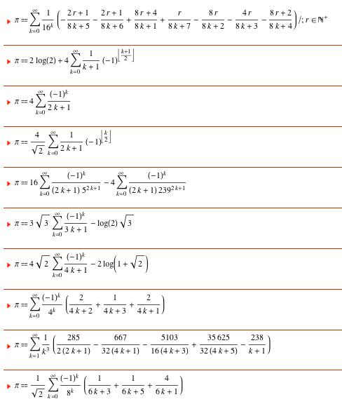 pi seri toplamları