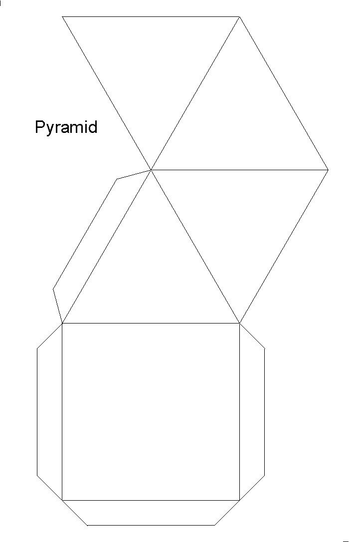 Kare piramitin açılımı açık şekli